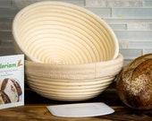 Banneton Bread Proofing Basket ( 9 inch set of 2) Dough Scraper by Oloriam - Round 100 Rattan.