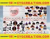 Halloween Afro Bundle, Halloween Bundle Svg, Afro With Pumpkin, Halloween Svg, Pumpkin Svg, Halloween Dress Designs, Cute Little Kid