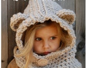 CROCHET PATTERN - Baylie Bear Cowl (3/6 months, 6/12 months, 12/18 month,Toddler, Child, Adult sizes) photo