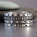Graphic Patterened Sterling Silver Stacking Ring, 2mm Wide - Pick any one hand stamped ring