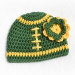 Crochet Baby Girl Football Flower Beanie - Newborn to Adult - Dark Sage and Sunshine - MADE TO ORDER