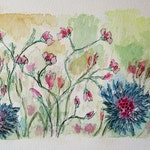 Spring Flowers - original ink and watercolor drawing - free shipping