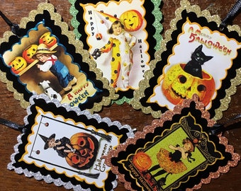 Halloween Gift Tag/Ornament/Decoration/Keepsake - Vintage Art Deco/Art Nouveau Children Halloween Images