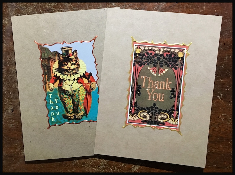 New Item Art Deco Thank You Card  Hand Painted Trim image 0