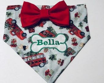 Red Christmas dog bandana, plaid, Personalized, Dog Bandana, Santa,Truck Farmhouse, Christmas photo shoot prop, dog scarf,  dog lovers gift