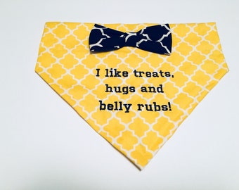 Dog Bandana, I like treats, hugs and  belly rubs, Dog Lovers Gift, Photo shoot, pubby gift dog moms gift, dig clothes, dog accessories