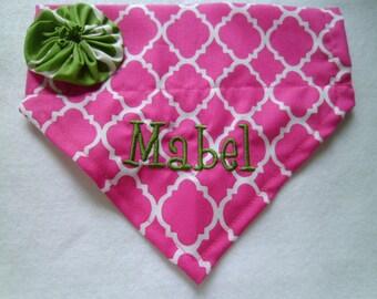 Dog Bandana, Personalized, Pink, slide on Collar, dog lovers gift, vacation, Dog Scarf, Photo Shoot, Dog Gift, Birthday, new puppy
