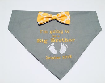 Pregnancy Reveal, Gender Reveal, Dog bandana, I'm Going to be a Big Brother, Bow, New Baby,  Baby shower, Dog Pregnancy Announcement
