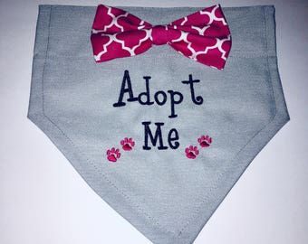 Adopt Me, Dog Bandana, Adopt Me, bow,  paws, Personalized, Embroidery, Over the Collar, Scarf,  dog lovers gift, Adoption, New puppy