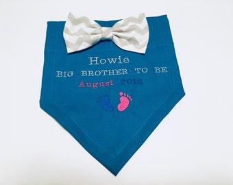 Big Brother, to be, Gender Reveal, Dog Bandana, Only Child, Baby Announcement, New Baby, Photo Shoot, Bow, Dog Lover Gift,  Baby Shower gift