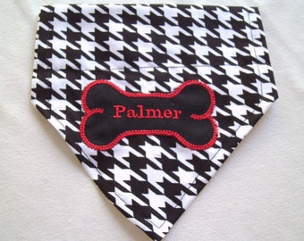 Dog Bandana, Houndstooth, Alabama, Monogram,  Over the Collar, Dog Clothes and Accessories, Scarf, Football,  dog lovers gift, dog grooming