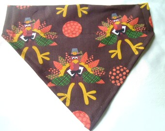 Thanksgiving Happy Turkey Brown Over the collar dog bandana  Scarf Dog Clothes, Dog holday photo shoot, Grooming, Dog turkey, personalized