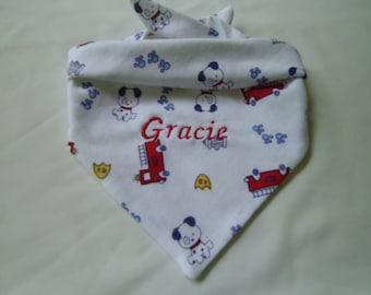 Dogs, Firetruck, Dog Bandana, Monogram, Embroidery, Personalized, Tie on, dog gift, dog lover gift, summer cute bandana, photo