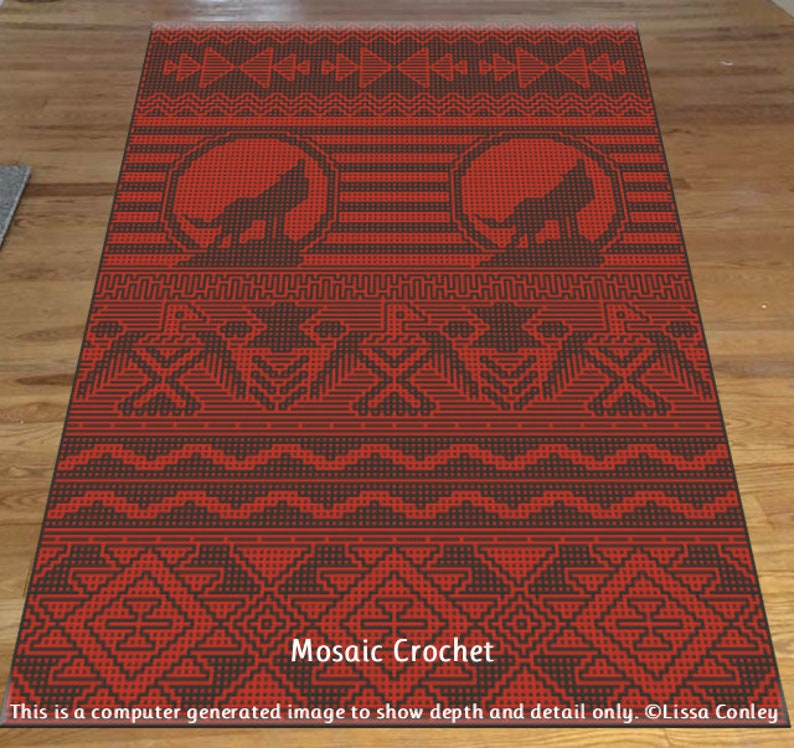 Early American Inspired Afghan Mosaic Crochet Pattern image 0