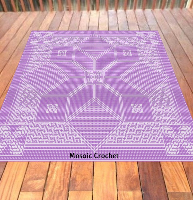 Cro-Quilt Block Evelyn Adult Throw Mosaic Crochet Pattern image 0