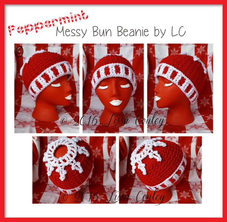 Peppermint Messy Bun Beanie by LC on Etsy image 0