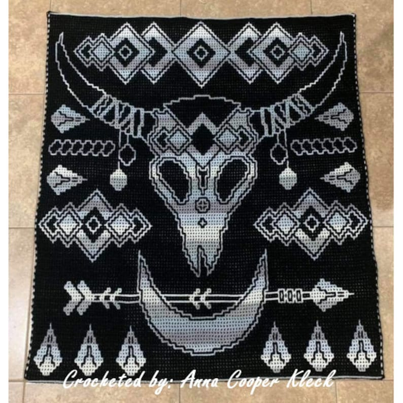 Steer Skull Medley Locking Filet Crochet Pattern image 0