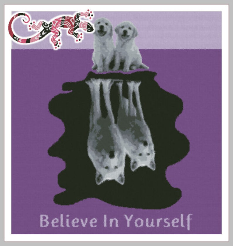 Believe in Yourself Puppies/Wolves for SC Graphghan Pattern image 0