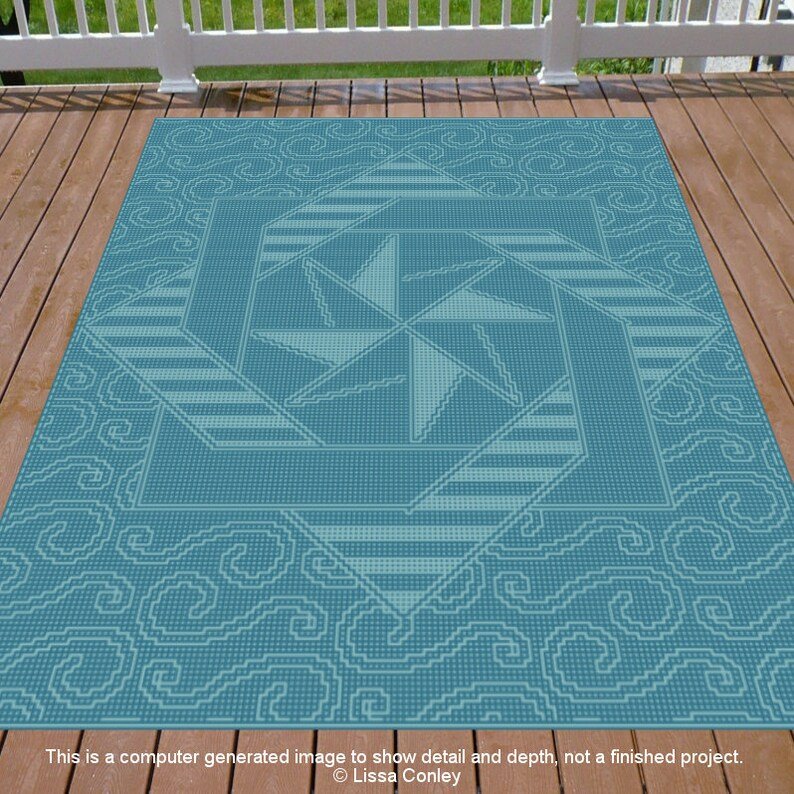 Cro-Quilt Block Afghan Labyrinth Star for Mosaic image 0