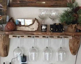 Wood Under Cabinet Wine Glass Rack 20 Inches Long Etsy