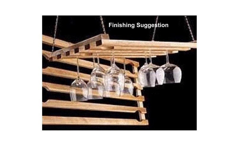 Wooden Hanging Wine Glass Rack 5 Row 24 Inch Etsy