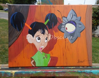 Yzma talking eyeball from Disney's The Emperors New Groove.  Hilarious scene with Chaca. OOAK 10 x 12