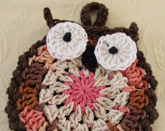 Brown Coral Crocheted Owl Pot Holder 100% Cotton Yarn
