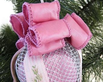Mauve Satin Cube, Silver Mesh Pink Ribbon Ornament