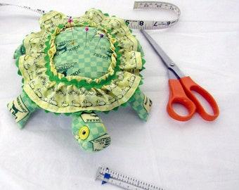 Hand Sewn, Self Designed,  Pin Cushion, Turtle, John Deere licensed Fabric