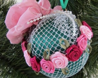 Green Satin Ball, Silver Mesh, Pink Ribbon, Flowers Ornament
