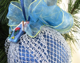 Blue Satin Ball With Silver Mesh & House Charm Ornament