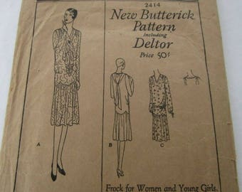 """Vintage1929 """"New Butterick"""" Pattern, fashionable frock for women and young girls"""