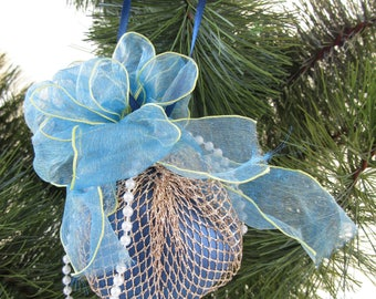 Blue Satin Cube With Gold Mesh Blue Ribbon, White Beads Ornament