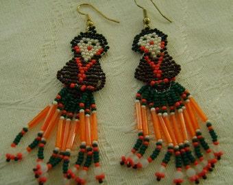 Hand Beaded Navajo Woman Earrings Brown, Orange, Green & White