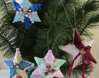 4 Soft Sculpture Quilt Type Stars for the Tree