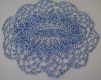 Blue Oval Pineapple Doily Made From Vintage Pattern and Thread