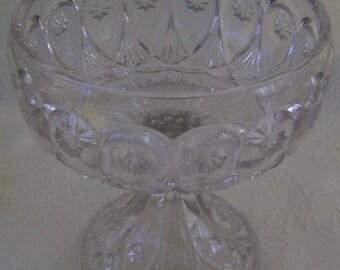 Footed Cut Glass Compote - Priscilla