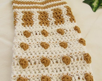 Exfoliate!  White and Gold Dalek Inspired Crocheted Hanging Towel 100% Cotton