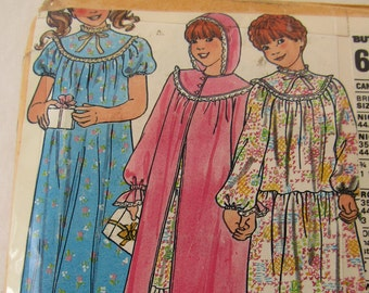 Butterick pattern #6354/6355 for a  sizes 10/12/14 girl's nightgown with yoke & sleeve variations with matching robe with hood