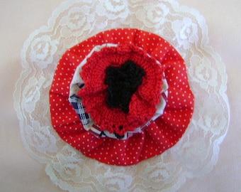Large Yo Yo Barrette Red Patriotic Print Lace