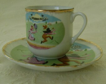 Vintage Miniature Collectible Souvenir Cup and Saucer from Missouri