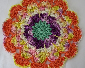 Fiesta Hand Crocheted Dish Cloth 100% Cotton Thread