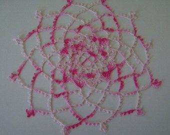 Variegated Pink SherbetDoily Made From Vintage Pattern and Thread