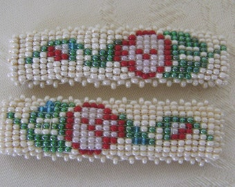A Pair of Hand Beaded Barrettes Hand Beaded, Rose Design