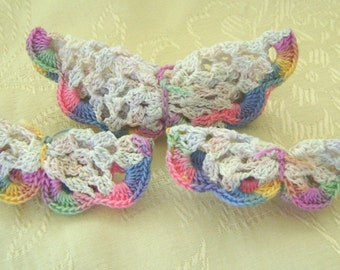 Set of 3 Barrettes, Crocheted White Butterflies, Variegated Wing Edges