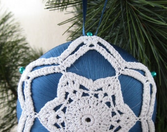 "Blue Satin ""Saturn"" Ornament, White Crochet Motif"
