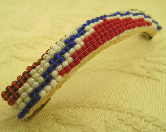 Hand Beaded Barrette Features a Geometric Design in Red, White, Blue, and Brown