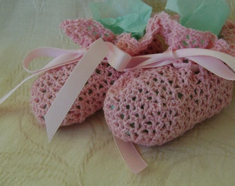 Crocheted Pink Lace Booties Made From Bamboo Thread - Soft!