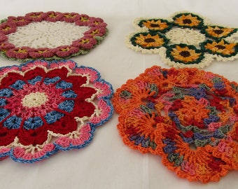 Set of 4 Crocheted Dish Cloths Floral & Contemporary 100%Double Cotton Thread