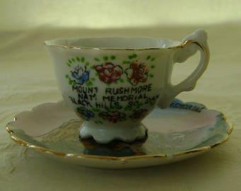 Vintage Souvenir Miniature Porcelain Cup and Saucer, Mount Rushmore, South Dakota